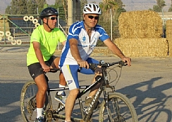 Judge Bernstein on the tandem bike