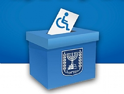 Envelope with wheelchair disabled symbol in ballot