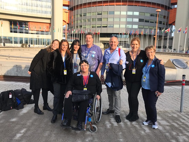 Access Israel delegation in front of the UN buildings in Vienna