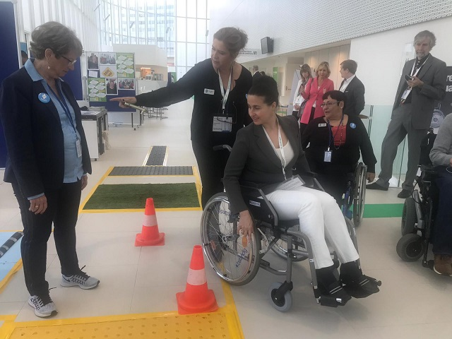 guests were invited to try out Access Israel's Accessibility Path