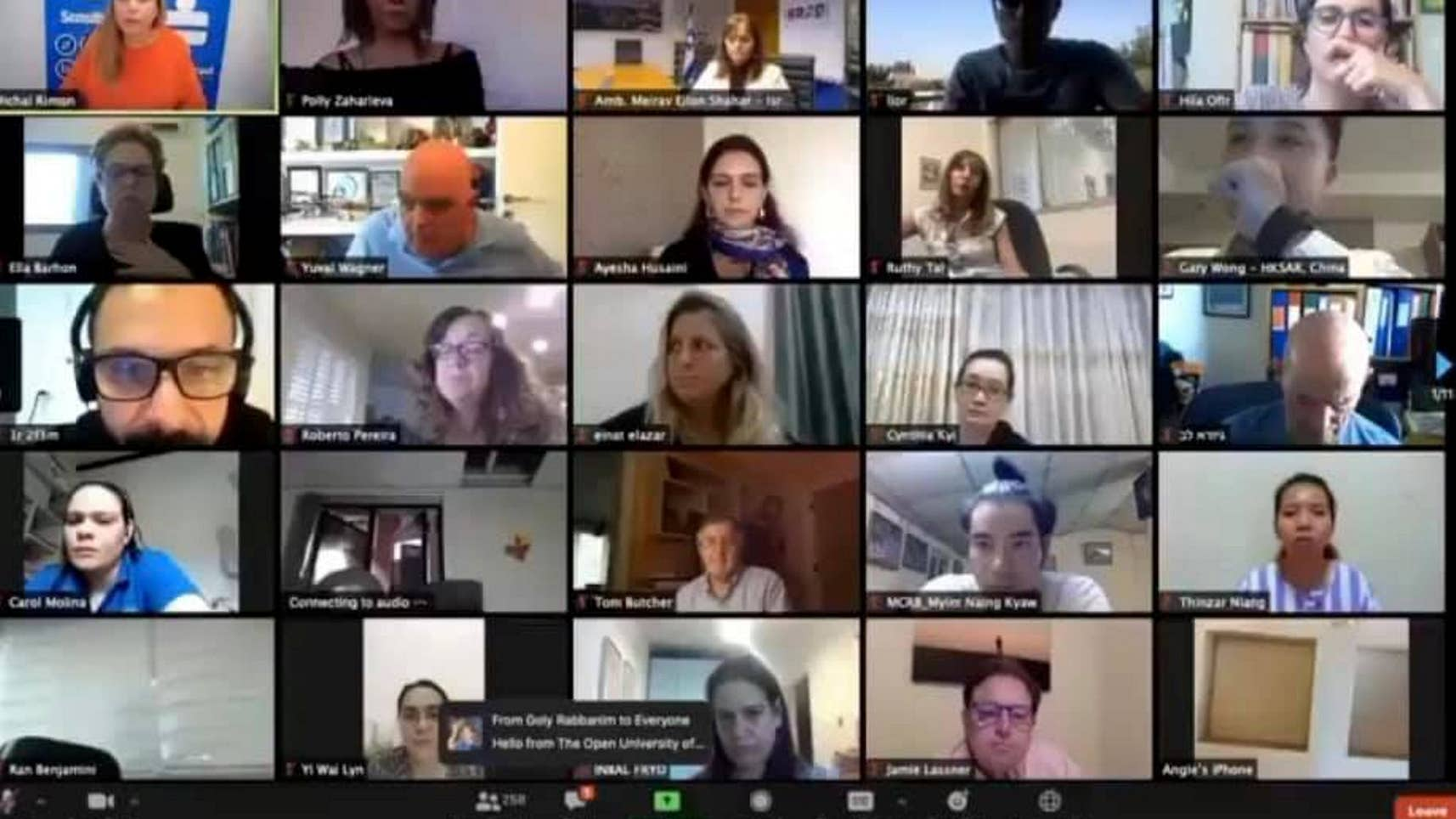 An Access Israel webinar with participants from all over the world.