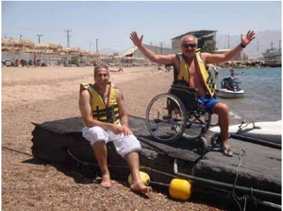 People with disabilities at the beach