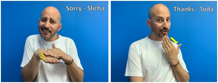 pictures of a man signing words in Hebrew Sign Language